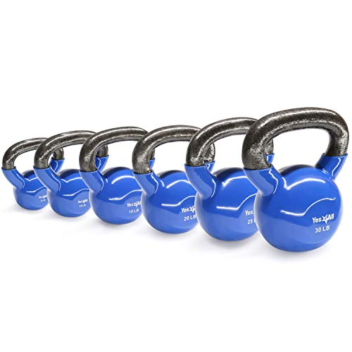 Yes4All Combo Vinyl Coated Kettlebell Weight Sets – Great for Full Body Workout and Strength Training – Vinyl Kettlebells 5 10 15 20 25 30 lbs by Yes4All (Image #2)