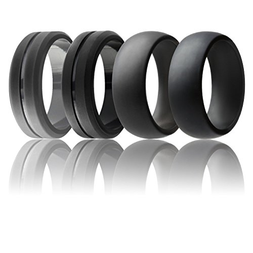 Elegant Ring - ROQ Silicone Wedding Ring For Men, Set of 4 Elegant, Affordable Silicone Rubber Wedding Bands, Brushed Top Beveled Edges -Black, Grey - Size 8