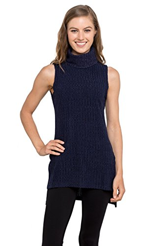eneck Tunic Tank Top - Sleeveless Ribbed Sweater, (Navy M) (Cashmere Petite Turtleneck)