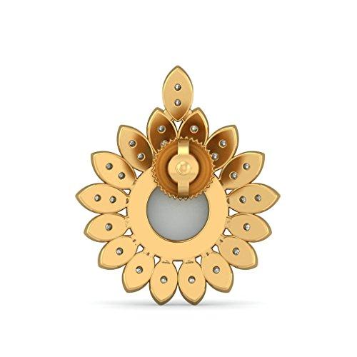 18K Or jaune 0,28CT TW White-diamond (IJ | SI) et blanc perle Boucles d'oreille à tige