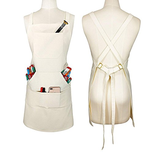 (Soft Thick Professional Artist Apron, Cross Back + Fasten/Quick Release Buckle + 6 Pockets + 2 Towel Loops + Hidden Headphone Hole for Artist Kitchen, Adjustable M to XXL -)