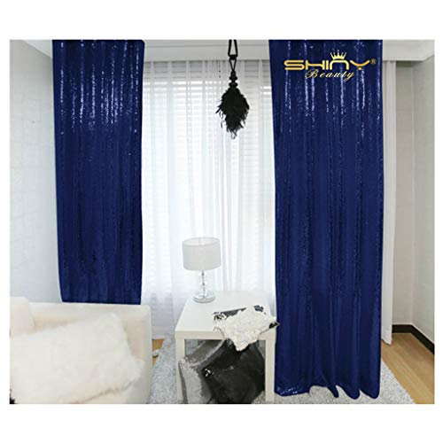 (ShinyBeauty Sparkle Backdrop Curtain Navy Blue 2 Panels Set Sequin Photo Backdrop 2FTx8FT Sequin Backdrop Curtain Pack of 2~1220S )