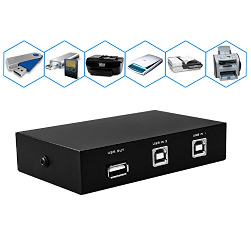 Cable Switch Interface (2 Port USB 2.0 Selector Switch 2 PC Share 1 USB Device Like Printer Flash Driver Mouse Keyboard with USB-A Interface)