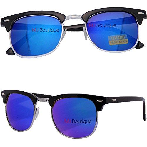MJ Eyewear New Retro Fashion Color Brow Half Frame Retro Classic Retro Classic Style Color Mirrored Sunglasses (Black, Blue) (Ray Bans Discounted Wayfarer)