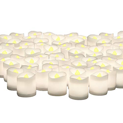 BANBERRY DESIGNS Centerpiece Candles - Set of 144 Bulk Pack White Votive Battery Operated - LED Lighted Flameless Candle - Wedding Decor