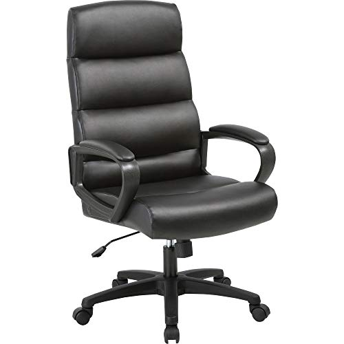 Lorell LLR41843 Soho High-Back Leather Executive Chair Black