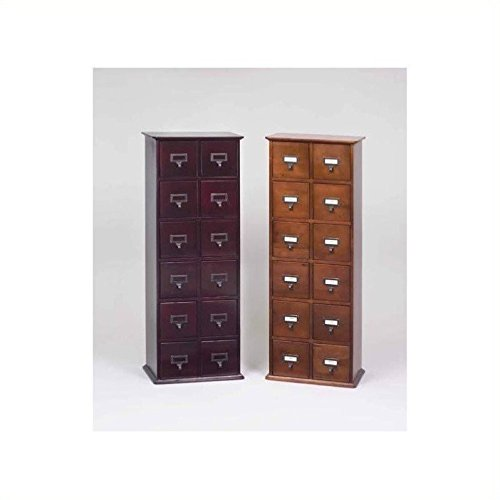 Leslie Dame CD-228W Solid Oak Library Card File Media Cabinet, 12 Drawers, Walnut