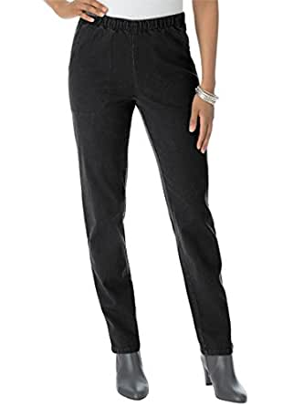 Roamans Women's Plus Size Tall Straight Leg 2-Pocket Leggings Black,12 T