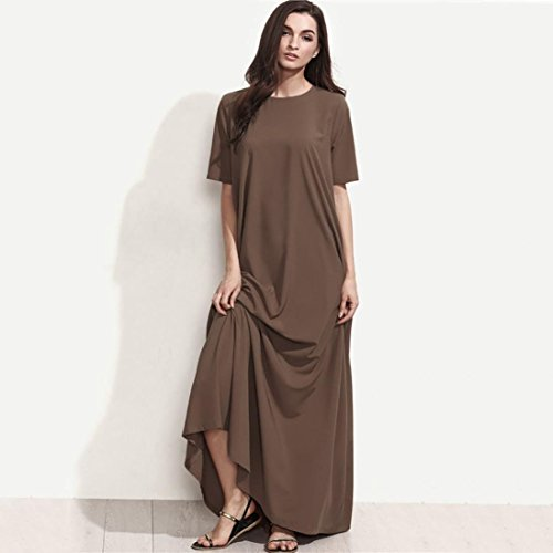 Plus Women Fashion Brown Evening Sale Party Sleeve Loose Size Autumn Dress Neck O Clearance Solid Alimao 2018New Short qFEwPn4T