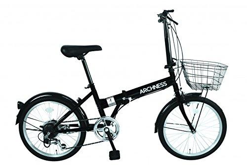 ARCHNESS 206-B 折りたたみ自転車 20インチ カゴ付 シマノ 6段 変速 B01MUB5L4J ブラック ブラック