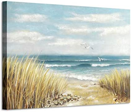 Abstract Beach Painting Wall Art Seashore Artwork Hand Painted Coastal Picture on Canvas for Office 45 x 30 x 1 Panel