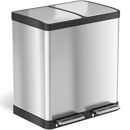 iTouchless 16 Gallon Dual Step Trash Can & Recycle, Stainless Steel Lid and Bin Body with Handle, Includes 2 x 8 Gallon (30L) Removable Buckets, Soft-close and Airtight - Trash Recycling Cans