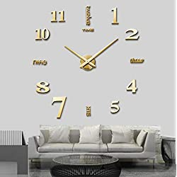SIEMOOLargeDIYWallClockKit,3DFramelessWallClockKit Modern Design MirrorNumberStickers ClockforHomeLivingRoomBedroomOfficeDecoration-Gold