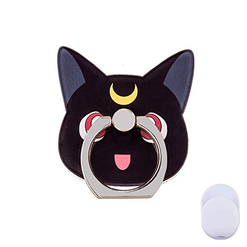 - ZOEAST(TM) Phone Ring Grip Sailor Moon Black White Cat Kitty Universal 360° Adjustable Holder Case Stand Stent Mount Kickstand Compatible all iPhones Samsung Galaxy Android Pad Tablet (Black Moon Cat)