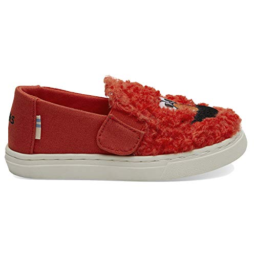 TOMS Sesame Street X Elmo Face Faux Shearling Tiny Luca Slip-Ons 10013649 (Size: 4) Red