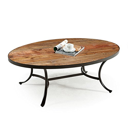 Emerald Home Rustic Wood Coffee Table with Oval Top and Metal Base (Unfinished Coffee Table Metal)