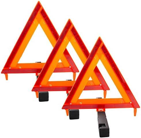 BOXI Triangle Warning Frame Triangle Emergency Warning Triangle Reflector Safety Triangle Kit (3 Pack)