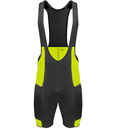 Men's Gel Touring Bib Shorts - Made in USA (Large, Safety Yellow) ()