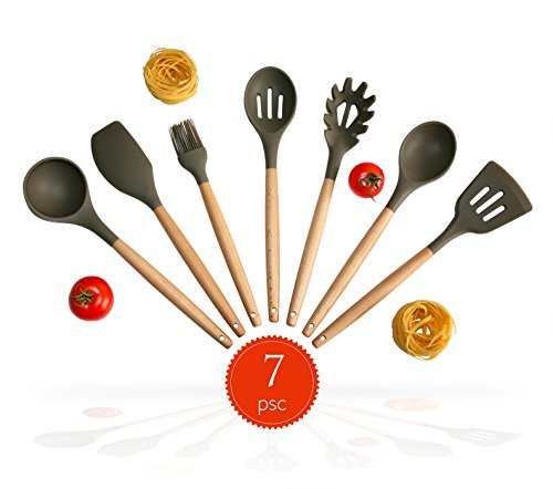 7 Piece Wooden Kitchen Utensil SET. Natural Acacia Wood and Durable Silicon.Spoon Set. Silicon Cooking Utensils With Spatula, Soup Ladle, Long Handle Scraper, Long Spoon, Pasta Fork, Spaghetti Spoon