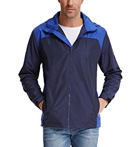 Rain Wind Jacket (PAUL JONES Men's Casual Contrast Color Lightweight Waterproof Jacket Size XL Dark Blue/Blue)