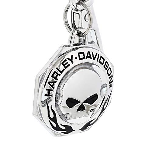 Harley-Davidson Chrome Willie G skull H-D Wordmark & Flames Key chain