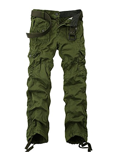 - OCHENTA Men's Cotton Washed Multi Pockets Military Cargo Pant #3380 Army green 30