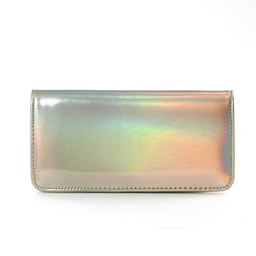 Flada Leather Hologram Around Women's Wallet Clutch Gold Pu Zipper Purse rRprnq