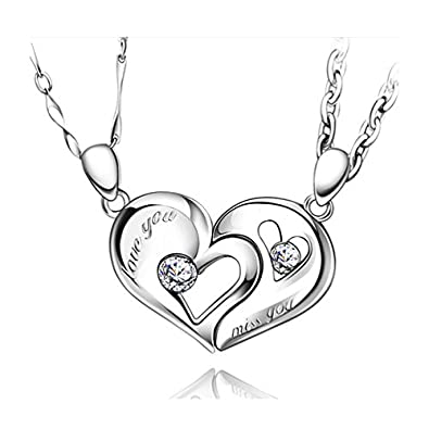 b4867d097d Personalized Magnetic Half Hearts Necklaces for Boyfriend and Girlfriend Set  for 2: Amazon.co.uk: Jewellery