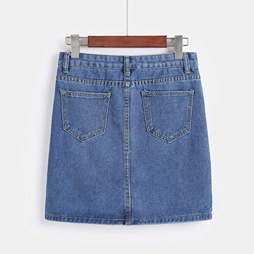 Ligne Bodycon Jeans 3XL Courte Une Femmes Jupe Jupe Bleu Mini Taille S Denim Haute junkai Crayon xIqRYAB