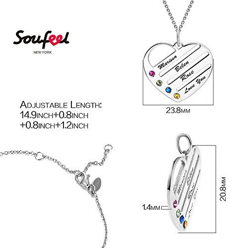 SOUFEEL My Name Necklace Heart Personalized Engravable Hang Tag Nameplate Sterling Silver Four Names