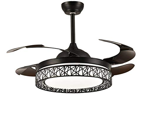 (Modern Fan Ceiling Light with Remote Control Three-Color Dimmable Crystal Fan Chandelier Blade Retractable Mute Indoor Fan Light 42 Inch (black))