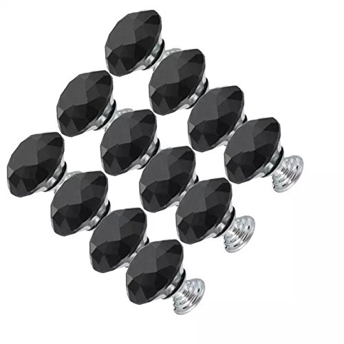CSKB 12 PCS Black 30mm Crystal Glass Diamond Cut Door Knob Drawer Cabinet Furniture Handle for Cupboard, Kitchen and Bathroom Cabinets, Shutters, etc