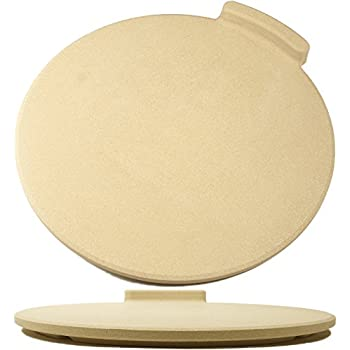 """The Ultimate 16"""" Round Pizza / Bread Stone for Cooking & Baking on Oven & Grill. Exclusive ThermaShock Protection & Core Convection Technology for the Perfect Crispy Crust. Patented No-Spill Stopper"""
