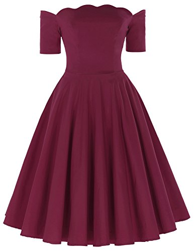 PAUL JONES Audrey Hepburn Off Shoulder Midi Summer Ruffle Dress Size L Wine Red