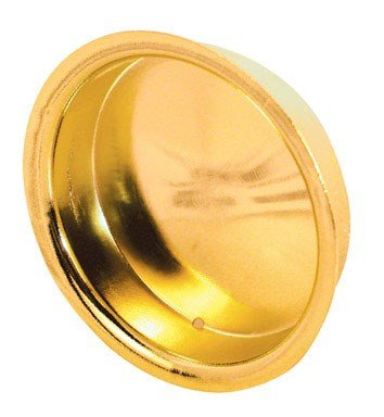 "Slide-Co 163138 Round Sliding Door Pull (2pk) – Stamped Steel With Brass Finish – Fits 1-3/4"" Diameter Bi-Pass Closet Door Finger Holes – Universal Design –Easy to Install, Hardware ()"