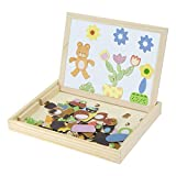 Wooden Magnetic Jigsaw Puzzles Toy, AOZBZ Double Side Play Puzzle Drawing Board Education