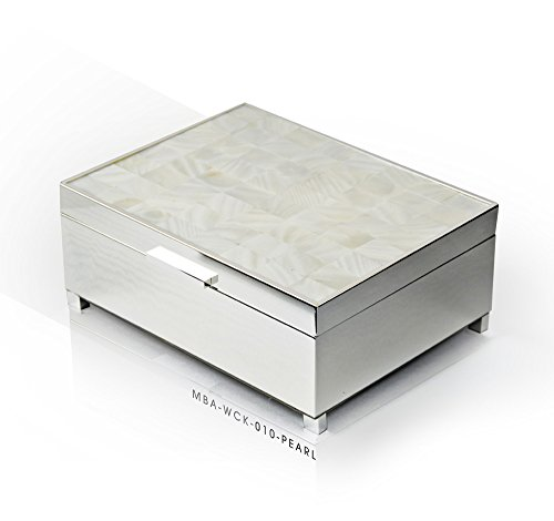 Pristine 18 Note Mother of Pearl with Silver Base Musical Jewelry Box - .0 Holy Night by MusicBoxAttic