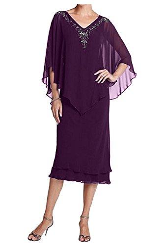 Partykleider Charmant Traube V Wadenlang Festlichkleider ausschnitt Chiffon Abendkleider Damen Brautmutterkleider x4x70H