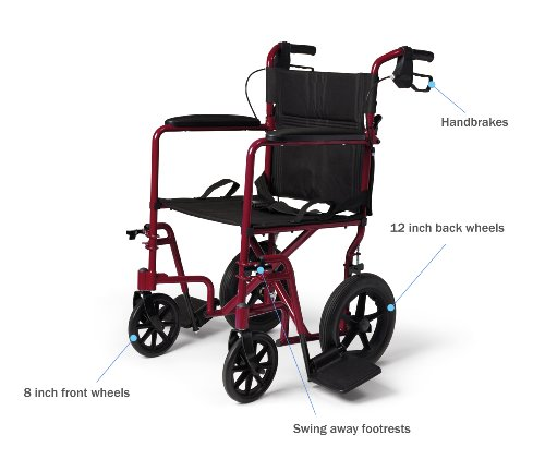 Medline-Lightweight-Transport-Adult-Folding-Wheelchair-with-Handbrakes-Red