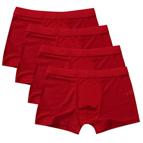 MmNote mens underwear, Men's 4PC Hollow-Out Micromesh Stitching Give-N-Go ComfortSoft WaistbandBoxer Briefs Red - Elite Red Silk Boys Ties