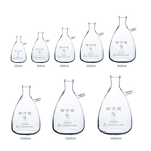 Filtering Flask Filter Flask Laboratory Filtration Apparatus 500ml Flask Erlenmeyer Flasks Labs Educational Filter Flask Clear Borosilicate Glass Bolt Neck with Tubulation by Cherish XT (Image #6)