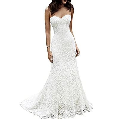 Fair Lady Sweetheart Lace Mermaid Wedding Dresses for Bride 2019 Strapless Full Lace Beach Bridal Gowns