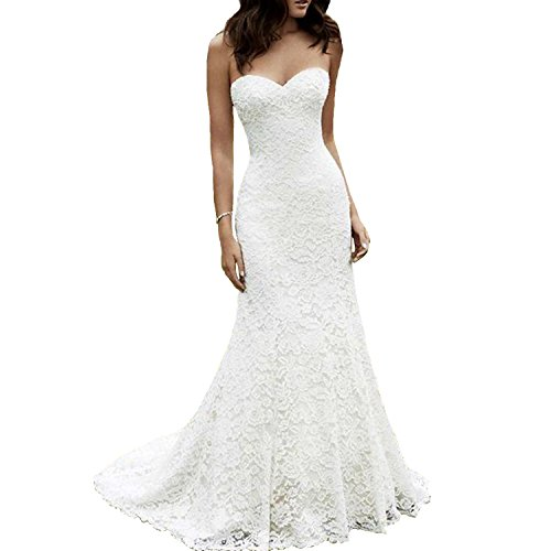 Fair Lady Sweetheart Lace Mermaid Wedding Dresses for Bride 2019 Strapless Full Lace Beach Bridal Gowns Ivory