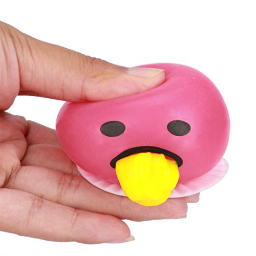 Lifestyler Cute Novelty Gag Toys Spitting Yolk Emoji Egg Prank Squeeze Stress Relief Toys Gifts Pink