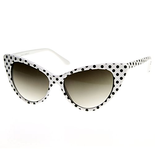 Black And White Vintage Cat Eyes Glasses (zeroUV - Polka Dot Cat Eye Womens Mod Fashion Super Cat Sunglasses (White Black-Dots ))