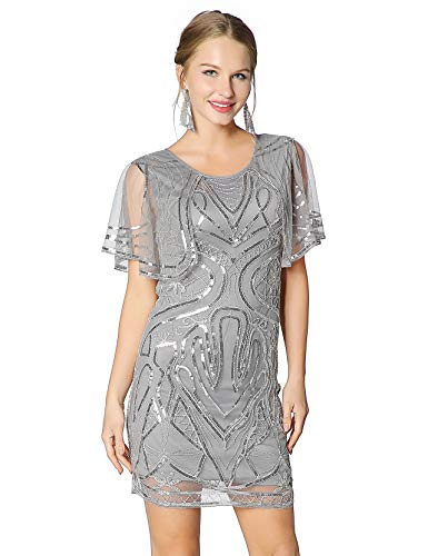Metme 20's Great Gatsby Inspired Sequins Dress Round