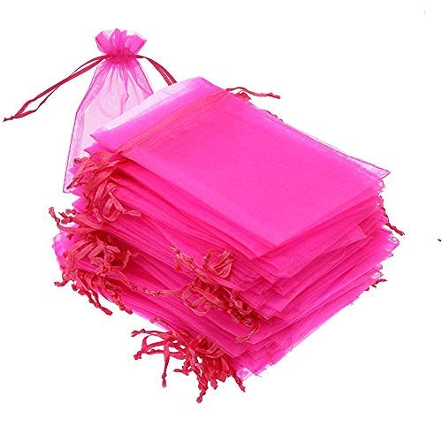 100 set Organza Bags, 4x6 inches (10x15cm) Sheer Drawstring Gift Bags, White Organza Jewelry Pouches, Wedding Party Favor Pouches, for Jewelry, Cosmic Business, Christmas Party Favor Bags (Hot Pink)