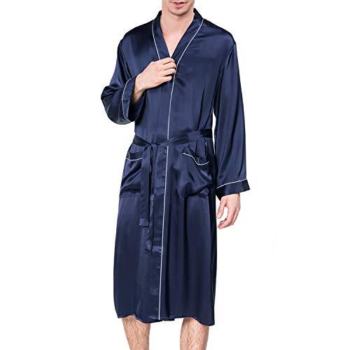 - COLD POSH Men's 100% Silk Satin Robe Long Sleeve Bathrobe Solid Color Classic Robes Lightweight Sleepwear Luxury Knee Length Nightgown,Navy,L