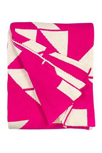 - Fab Habitat 100% Cotton Knitted Throw, Blanket - Santa Cruz, Beetroot & White - 50