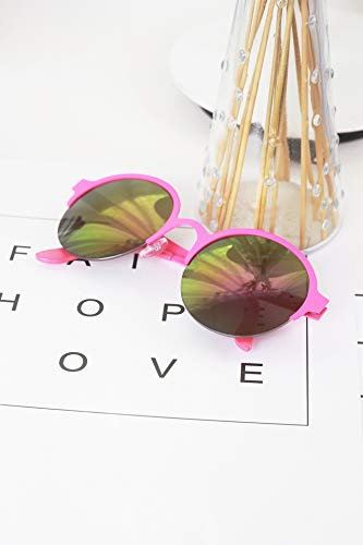 (Candy-Colored semi-Circular Frame Reflective Sunglasses uv Protection Sunglasses Women Girls Colorful Metal Frames Shopping Tourism Glasses (Rose Box red)